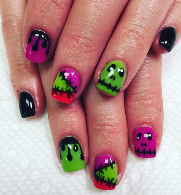 green and pink monster nail art