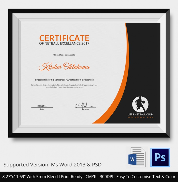 5 Netball Certificates Psd Word Designs Design Trends