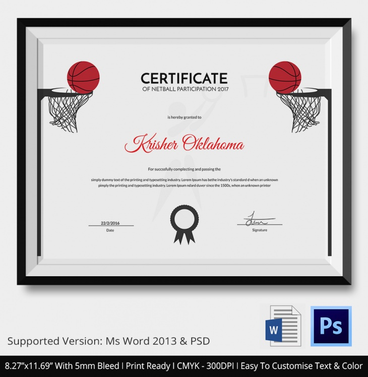 5 Netball Certificates Psd Word Designs Design Trends