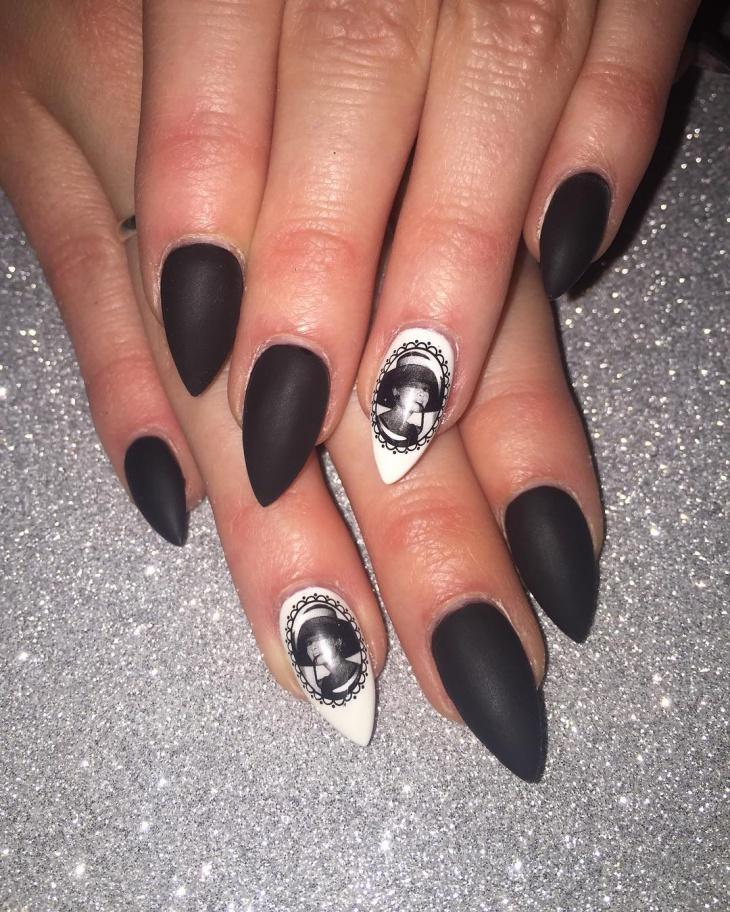 matte black pointy nail