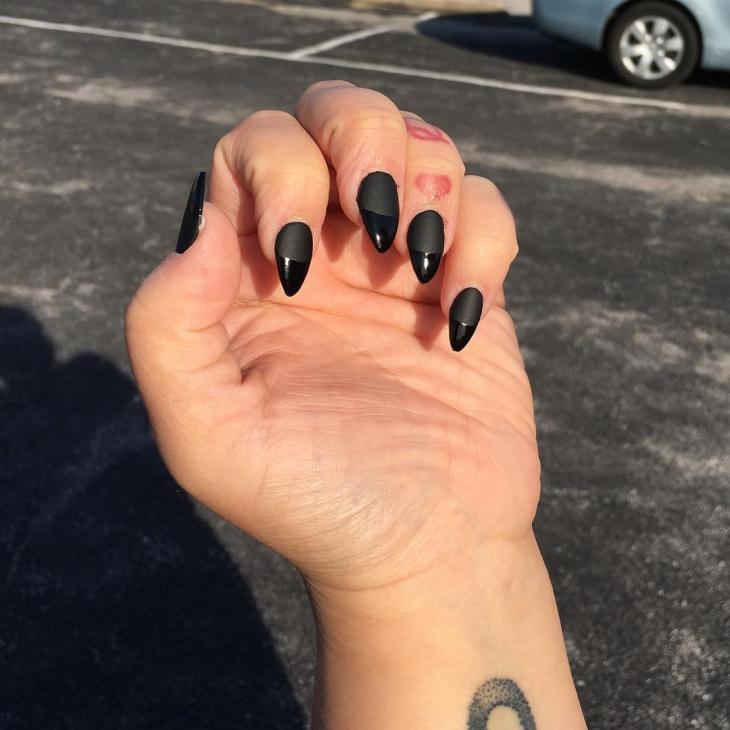 matte black gel nail design