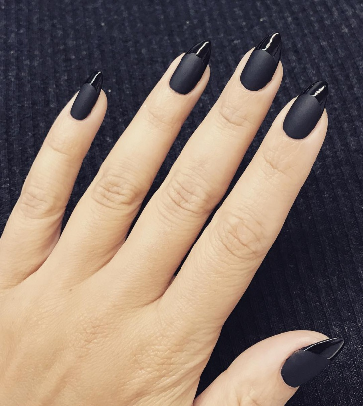 Matte Black Stiletto Nail Design