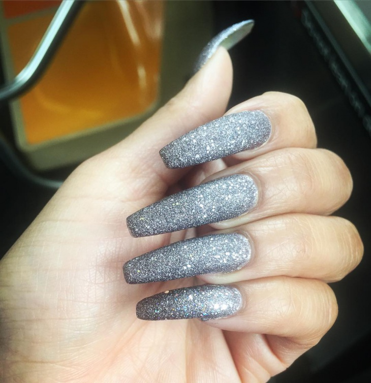 Silver Matte Nails with Glitter