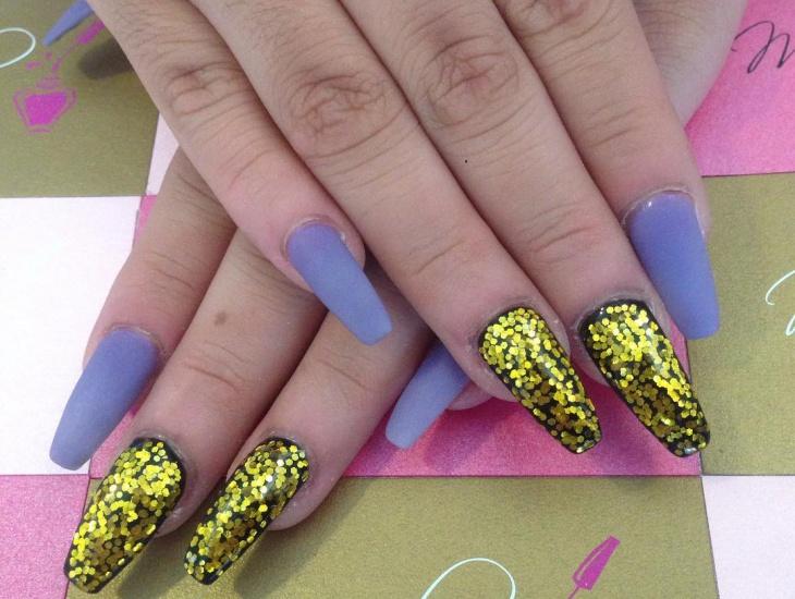 matte blue acrylic nail design