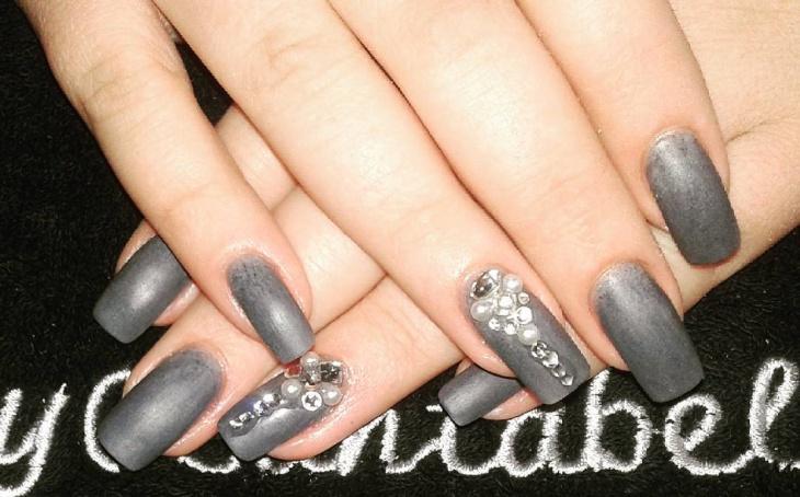 matte gray acrylic nails