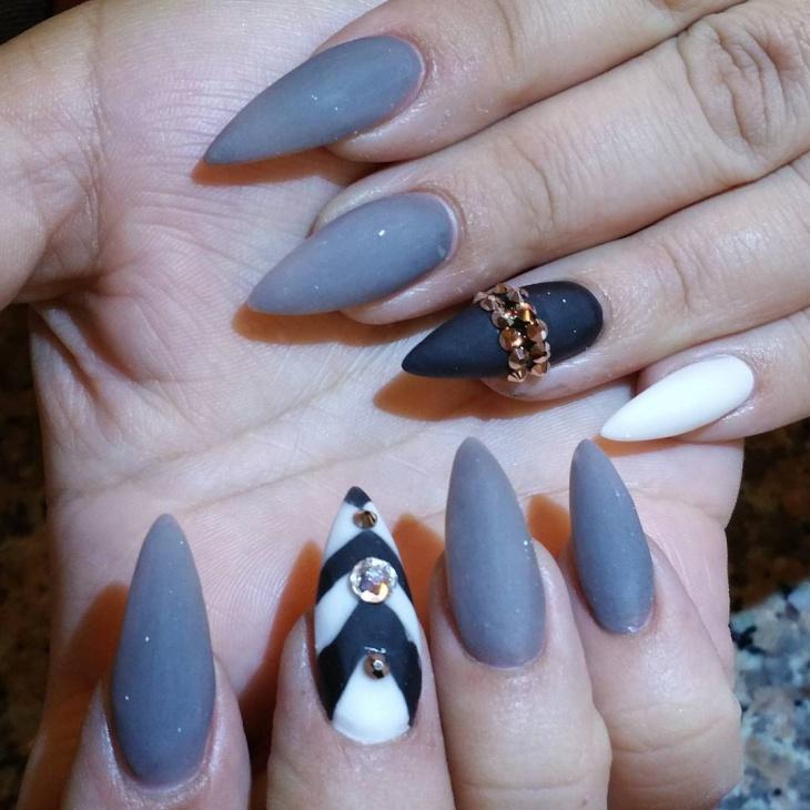 matte stiletto acrylic nails