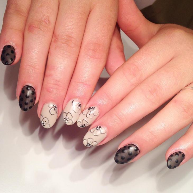 sheer matte polka dot nail art