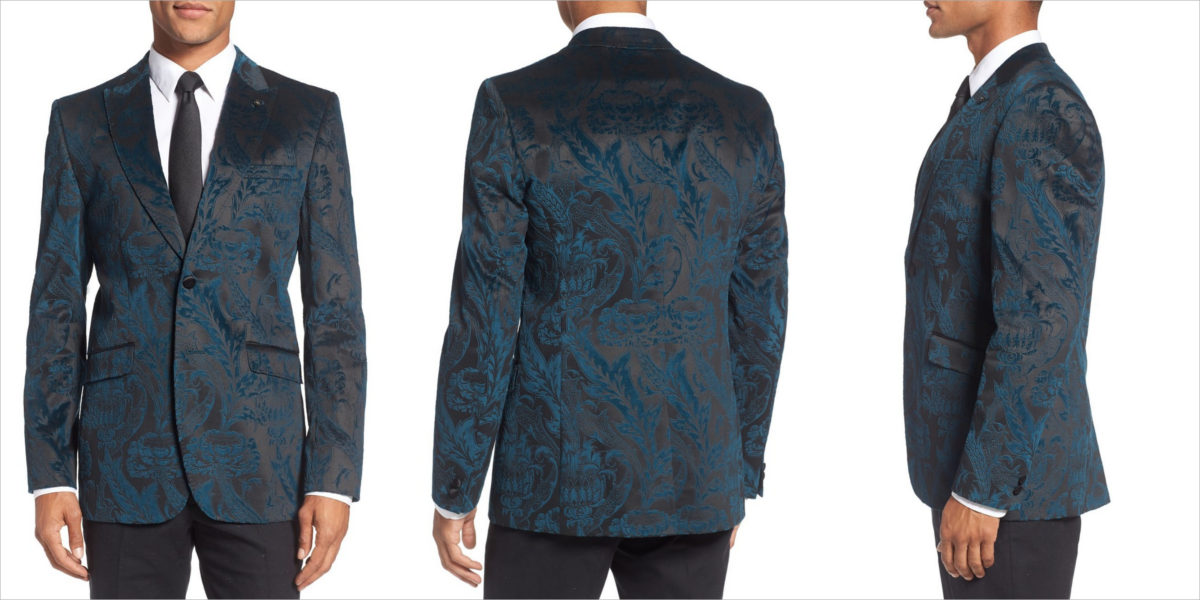 Ted Baker Pashion Trim Fit Paisley Velvet Dinner Jacket