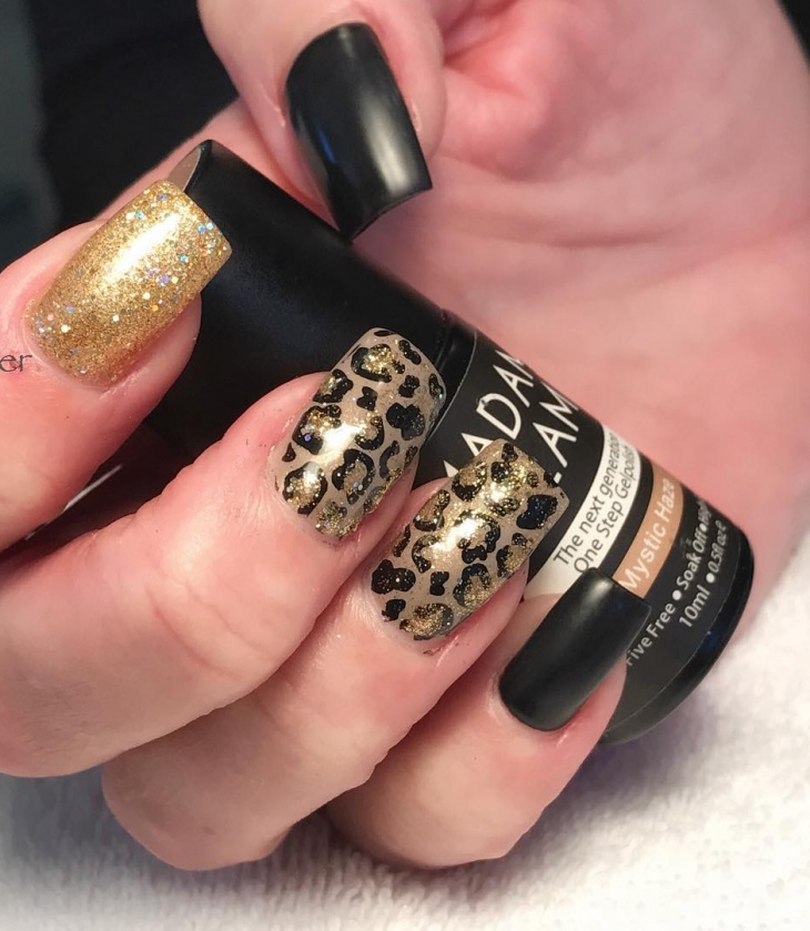 cheetah print matte nails