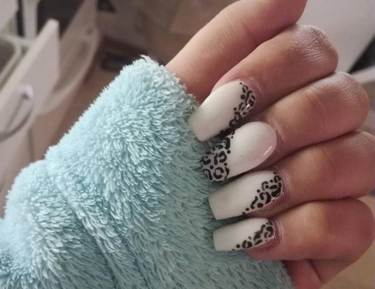 leopard print matte nail art1