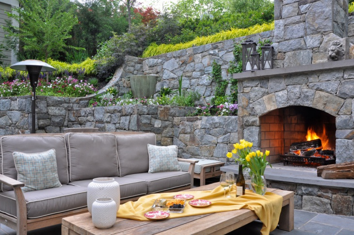 outdoor stone wall design