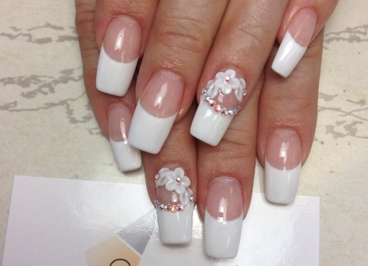 white matte french tip nail art