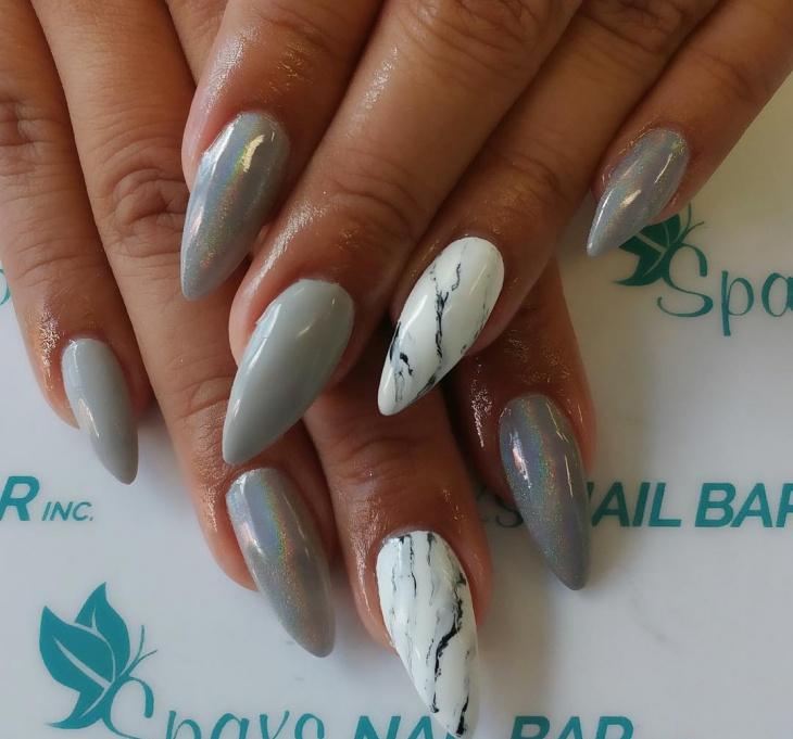 matte holographic stiletto nail design1