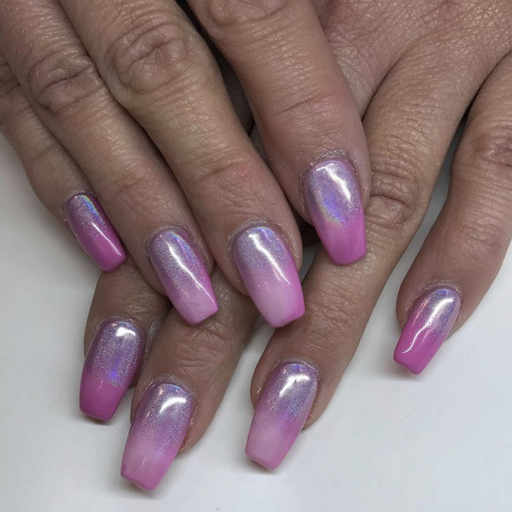 Matte Pink Holographic Nails