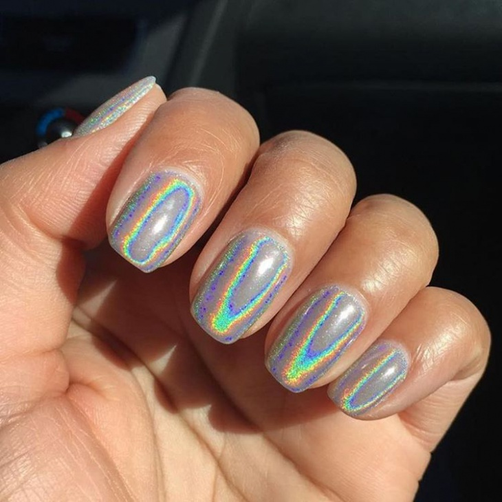 Matte Silver Holographic Nails