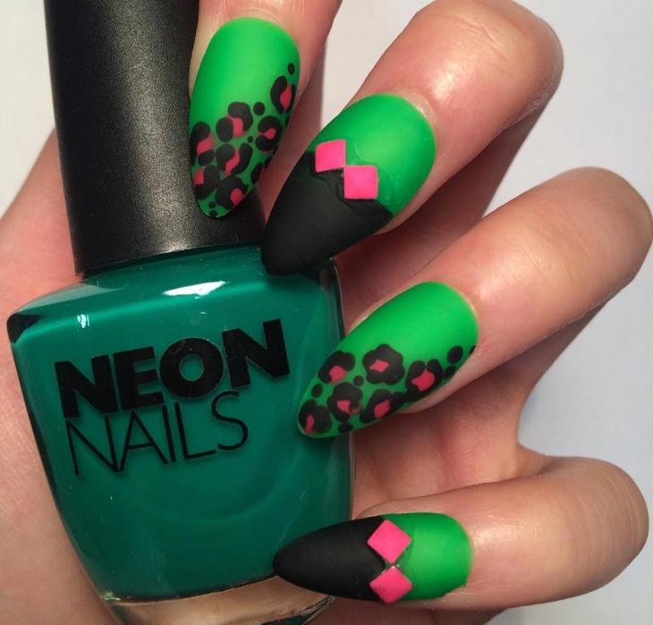 neon matte leopard print nail art