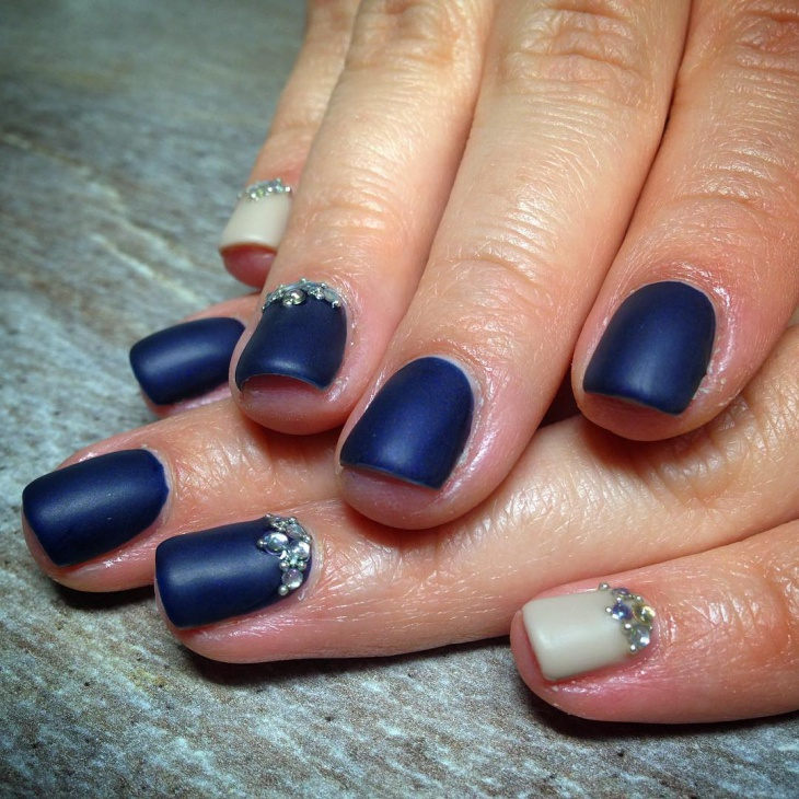 Matte Royal Blue Nails with Rhinestones