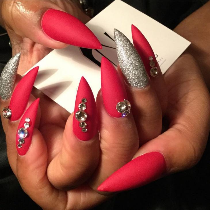 Matte Stiletto Nails With Rhinestones