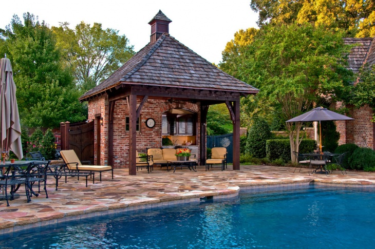 outdoor pool shed design