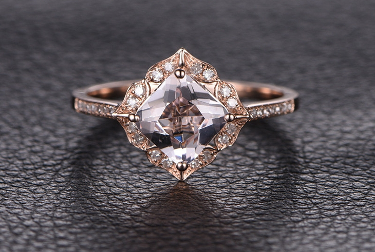 rose gold princess cut diamond ring1