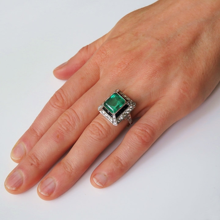 emerald cut vintage diamond ring