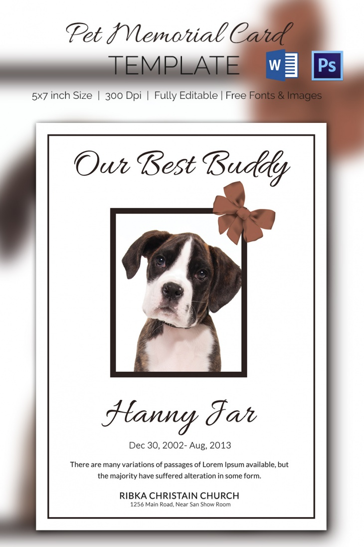 5 Pet Memorial Card Templates – Free Word, PDF, PSD Documents ...