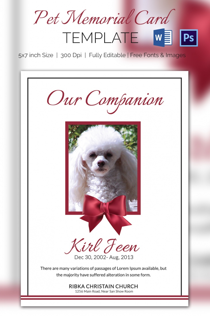 Editable Pet Memorial Card