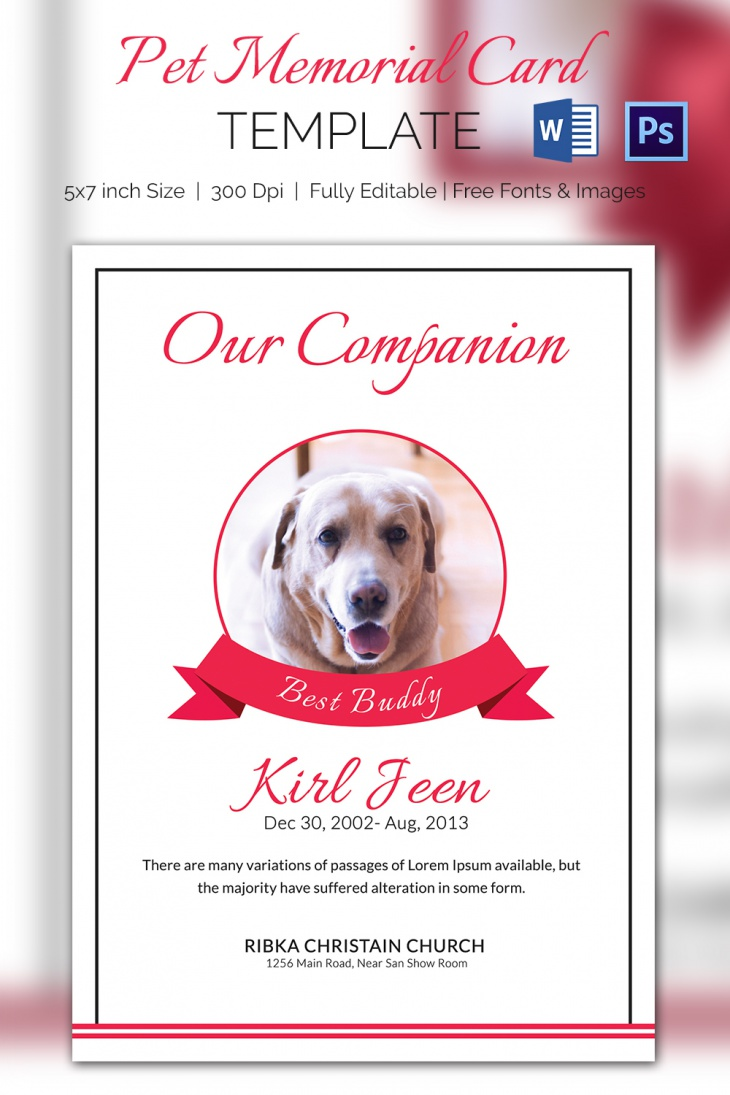 5 Pet Memorial Card Template Word Psd Pages