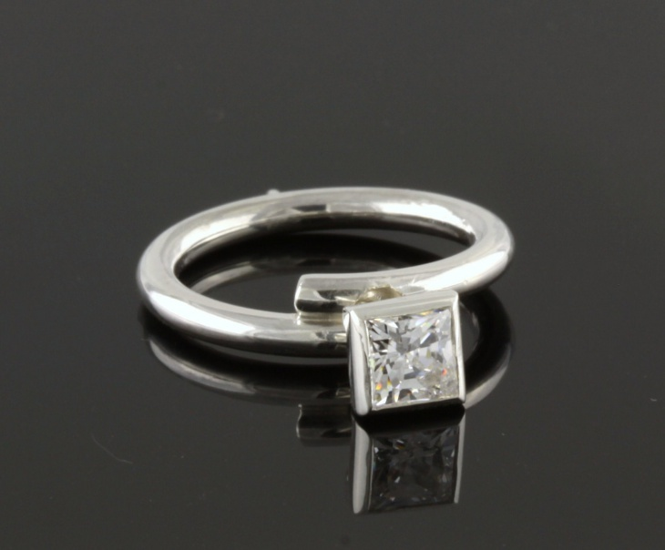 square diamond platinum ring