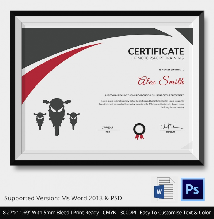 5 motosport certificates psd word designs design for Motosport templates