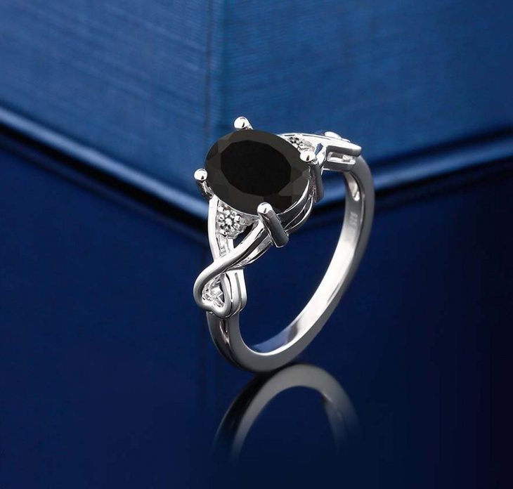 oval black diamond ring