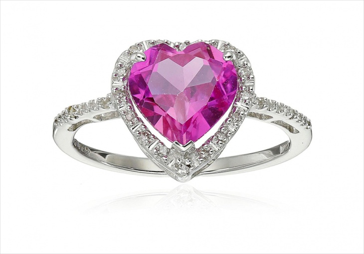 pink heart diamond ring