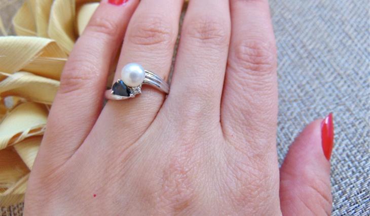 pearl sapphire diamond ring