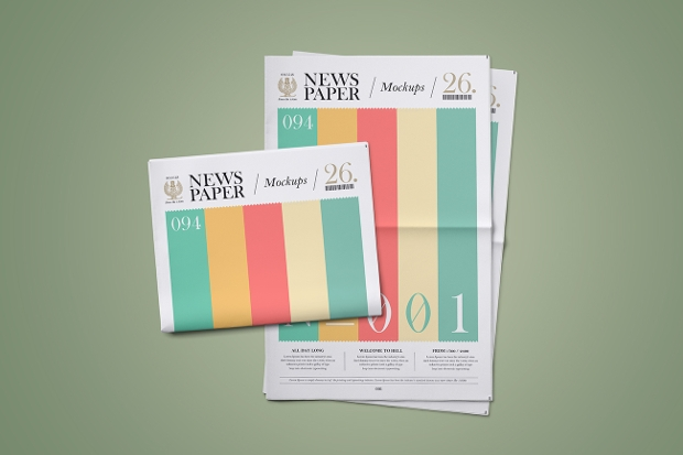 colorful newspaper mockup