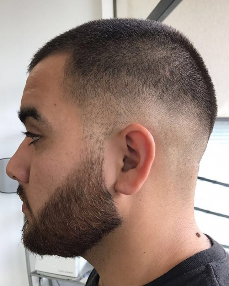 Medium Fade Haircut with Beard