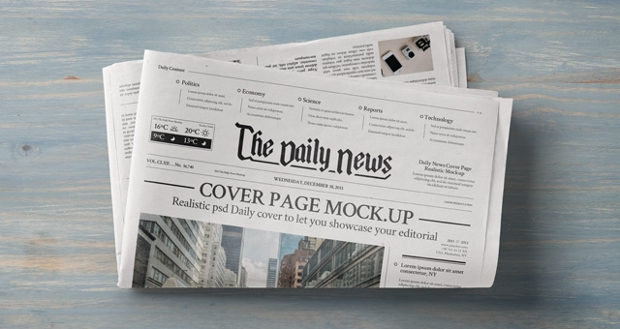 daily newspaper psd mockup