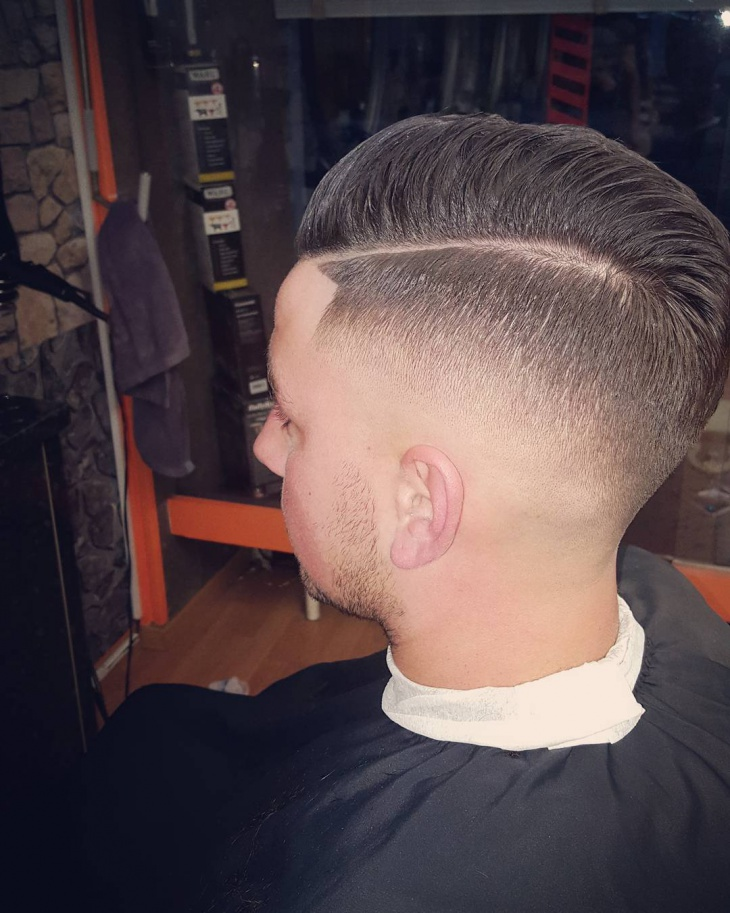 Slicked Back Drop Fade Haircut