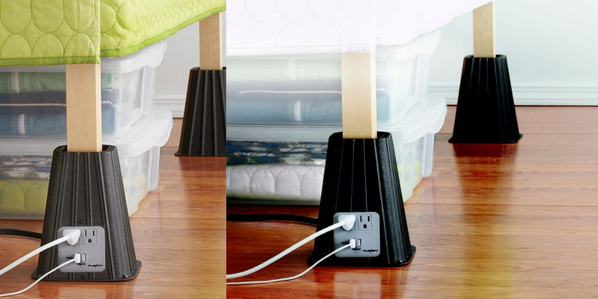 Bed Riser with Built-in Electric Outlets