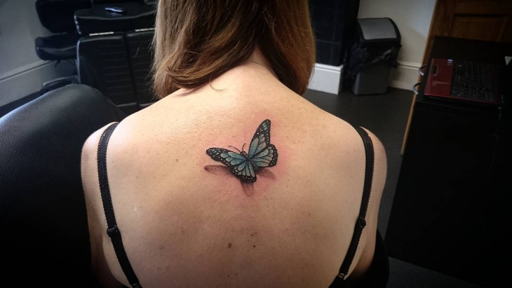 Small 3d Butterfly Tattoo