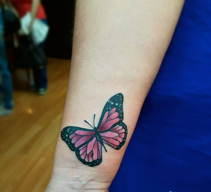 Small Pink Butterfly Tattoo Design