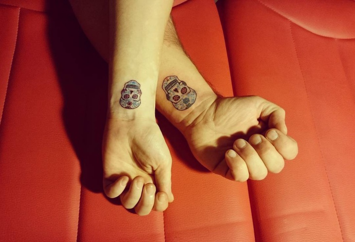 Small Skull Couple Tattoo