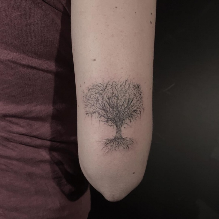 Small Oak Tree Tattoo Design