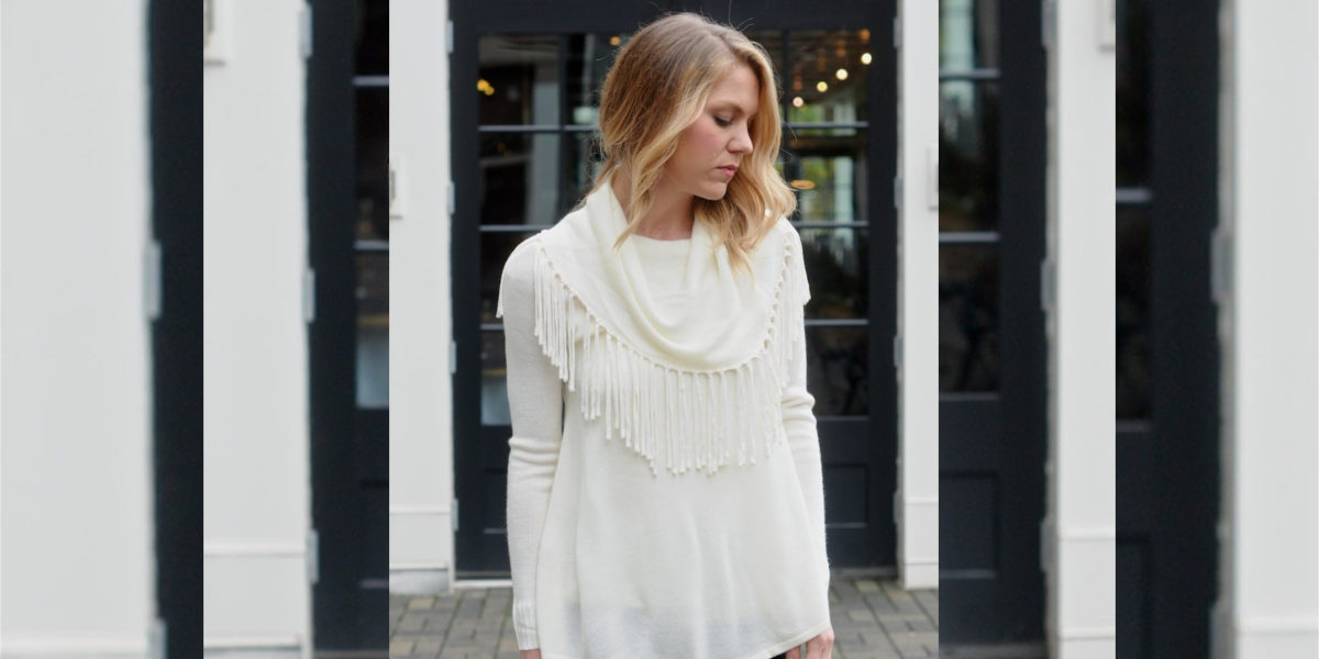 Fringe Detail Oversized Crew Neck Sweater