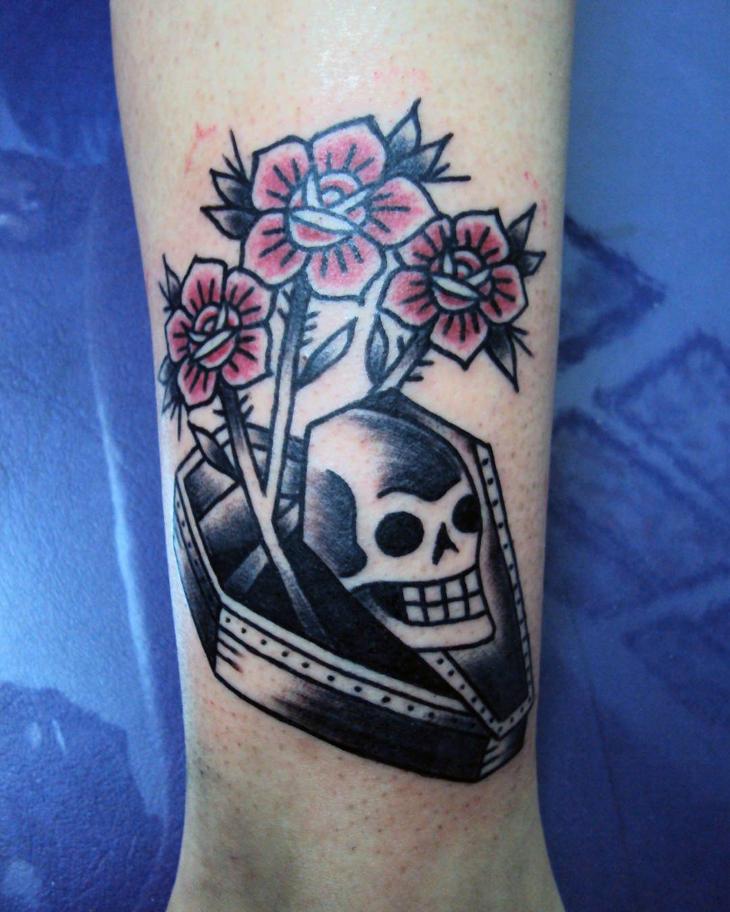 Coffin Skull Tattoo Design