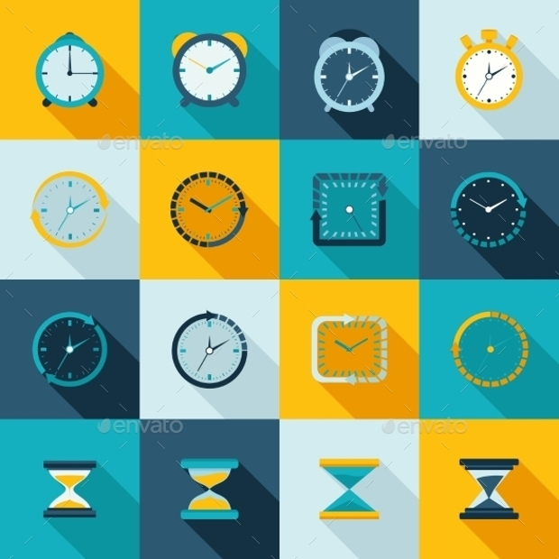 Flat Clock Icons Set