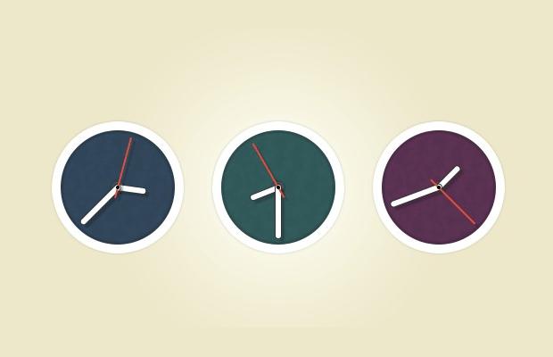 Flat Circle Clock Icons