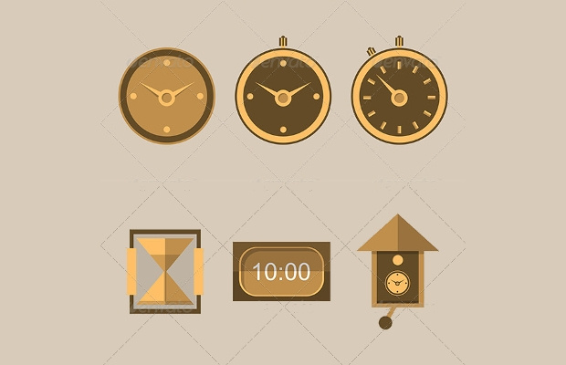 Brown Clock Icons