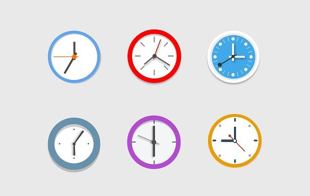 Colorful Clock Icons
