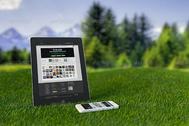 devices website outdoor mockup