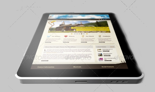 tablet website mockup template